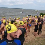 Swimmers at Start of Potomac race--we swam to other side in distance!!