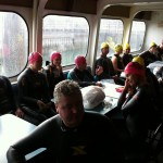 Swimmers trying to relax on the ferry out to Alcatraz