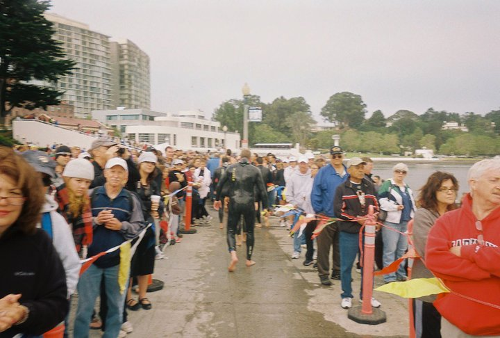 On-land supporters wait to greet the successful swimmers!