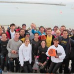 Swimmers gather together bright and early the morning of the Alcatraz Swim!