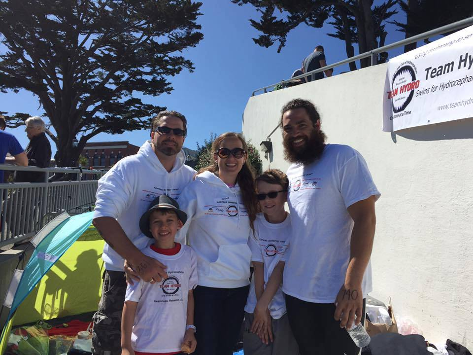 Lake and his family after the Alcatraz Swim!