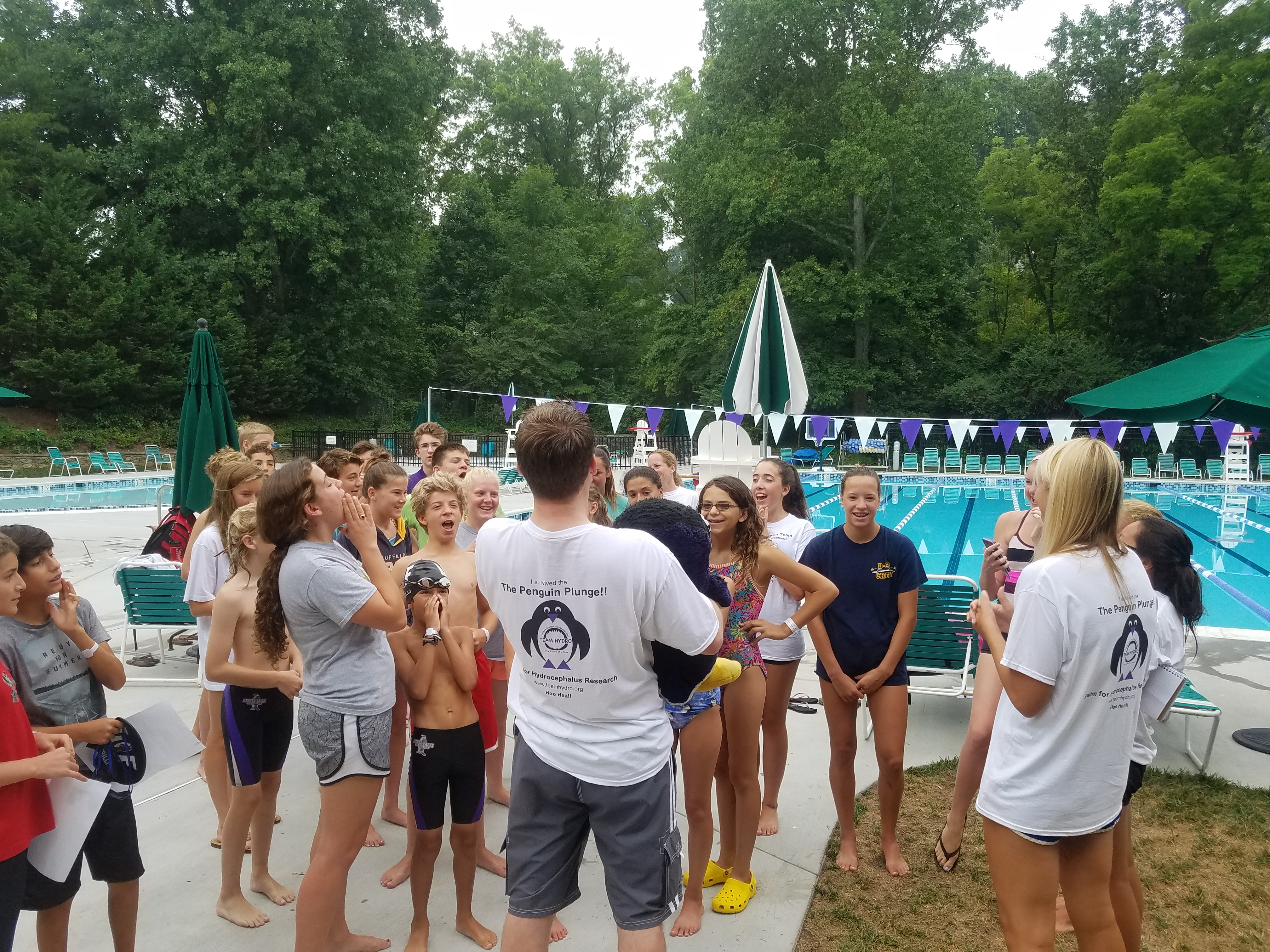 A team cheer before the swim!